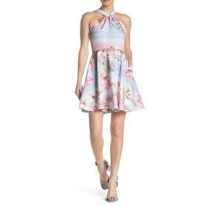 Ted Baker Fit Flare Dress 3 Blue Pink Umerta NEW